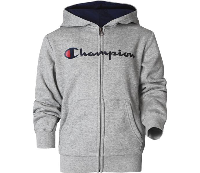 380ee57b2f70 Champion Hooded Full Zip Sweatshirt jr huvtröja - Gray Melange Light -  Intersport